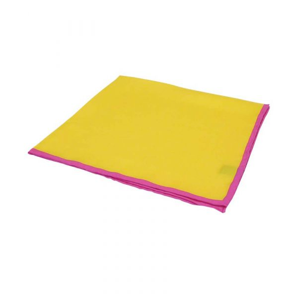 Yellow Silk Hankie with Pink Hem