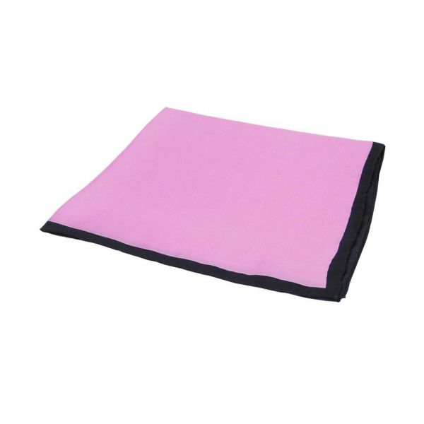 Pink Silk Hankie with Black Hem