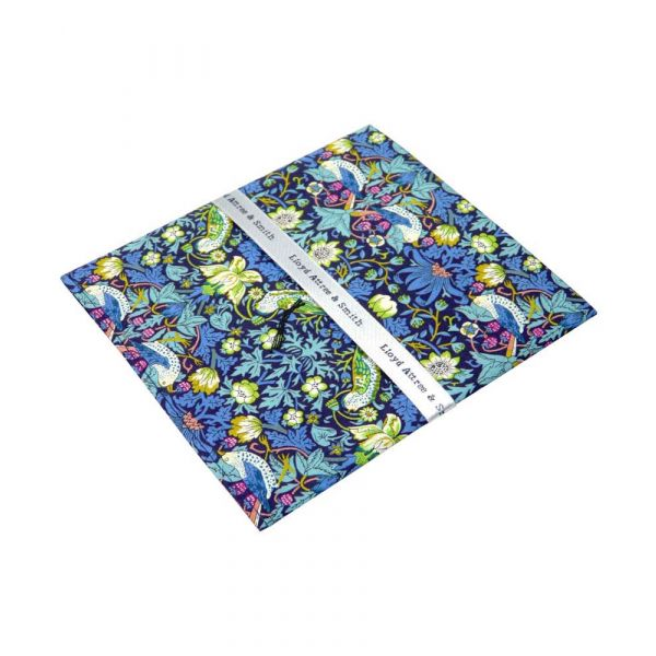Liberty Print 'Strawberry Thief' Design in Green Cotton Pocket Hankie