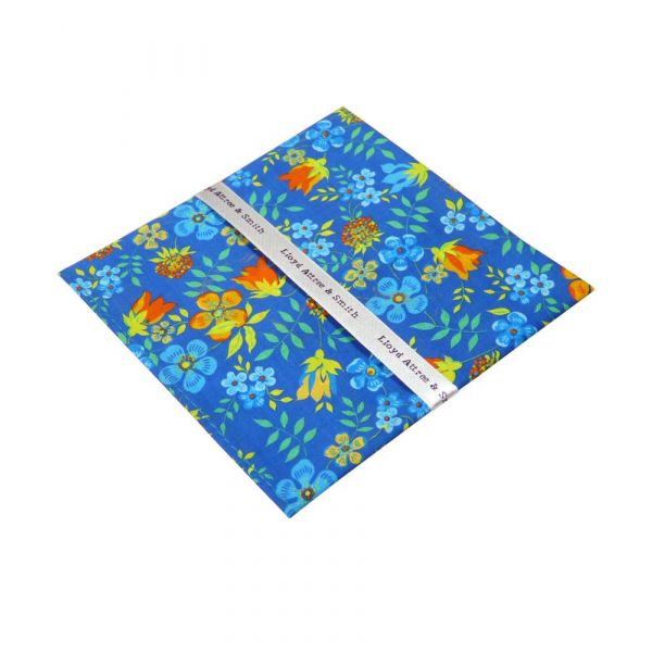 Liberty Print 'Edenham' Design in Blue Cotton Pocket Hankie