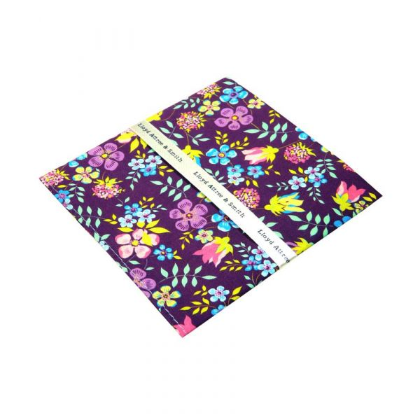 Liberty Print 'Edenham' Design in Purple Cotton Pocket Hankie