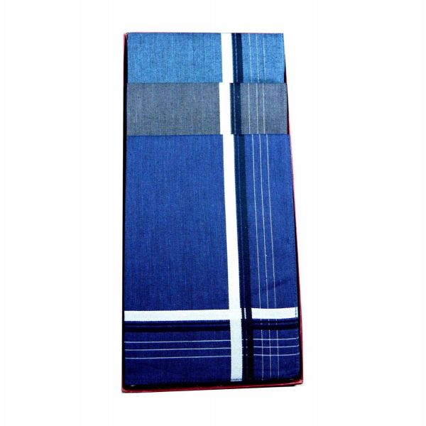 Three Deep Colour Cotton Hankies with Silver Stripes Border from Guasch