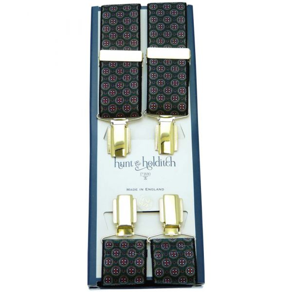 Green with Circle Design Gilt Clip Braces from Hunt & Holditch