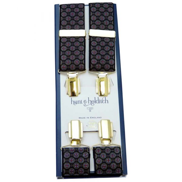 Black with Red Circle Design Gilt Clip Braces from Hunt & Holditch