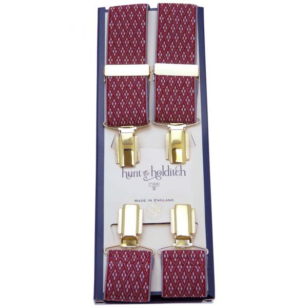 Red Diamonds Design Gilt Clip Braces from Hunt & Holditch