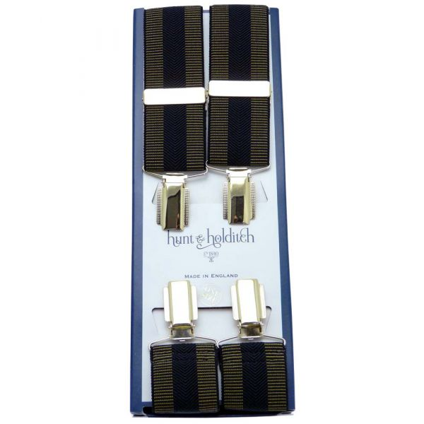 Gold with Black Chevron Centre Stripe Gilt Clip Braces from Hunt & Holditch