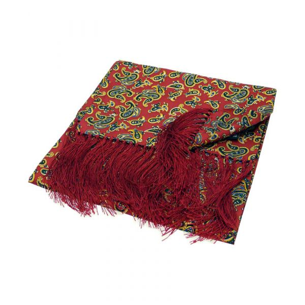 Edwardian Inspired Red Paisley Silk Aviator Scarf