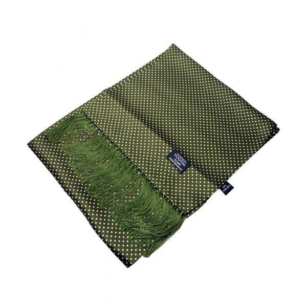 Olive Green with White Pindot Design Silk Scarf from Tootal