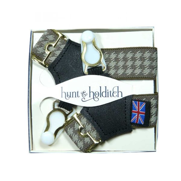 Beige Dashes Sock Suspenders from Hunt and Holditch