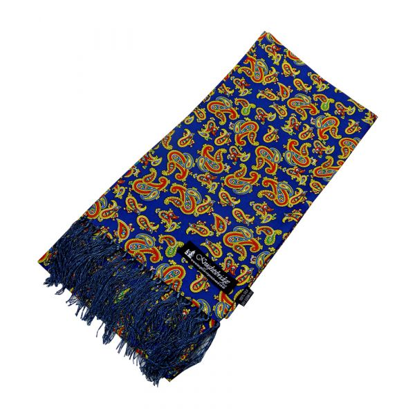 French Navy Paisley Silk Aviator Scarf from Knightsbridge Neckwear - ACC1871