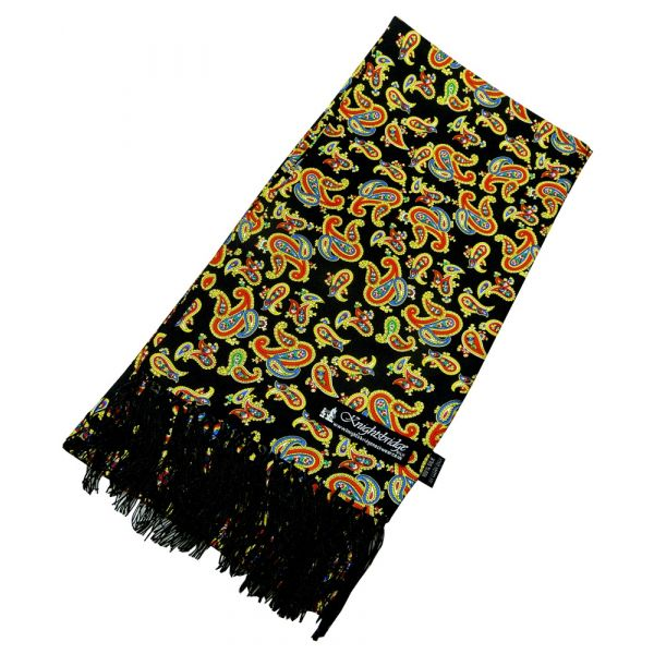 Black Paisley Silk Aviator Scarf from Knightsbridge Neckwear - ACC1871