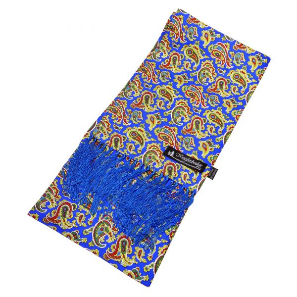 Bright Blue Paisley Silk Aviator Scarf from Knightsbridge Neckwear - ACC1871