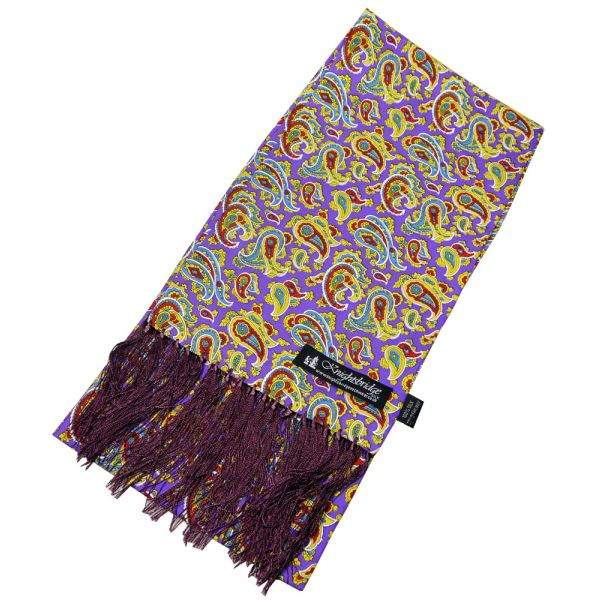 Bright Purple Paisley Silk Aviator Scarf from Knightsbridge Neckwear - ACC1871