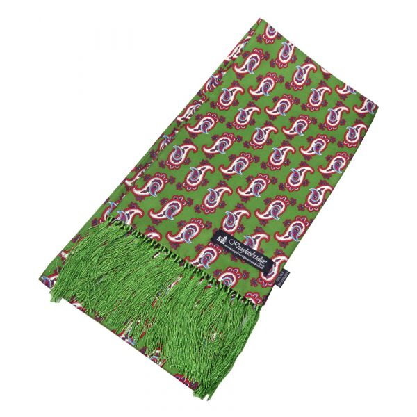 Green with Paisley Design Silk Aviator Scarf from Knightsbridge Neckwear