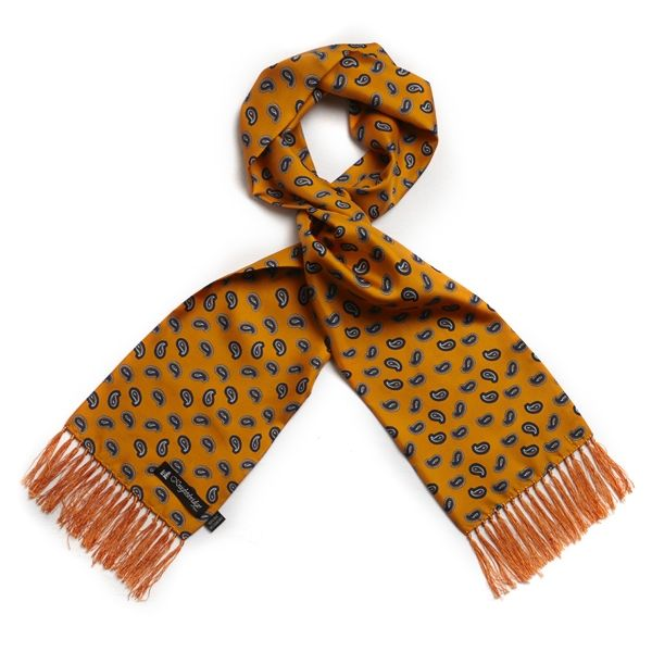 Orange with Blue Paisley Silk Aviator Scarf from Knightsbridge Neckwear