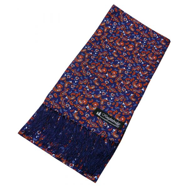 Blue and Red Small Paisley Silk Aviator Scarf from Knightsbridge Neckwear
