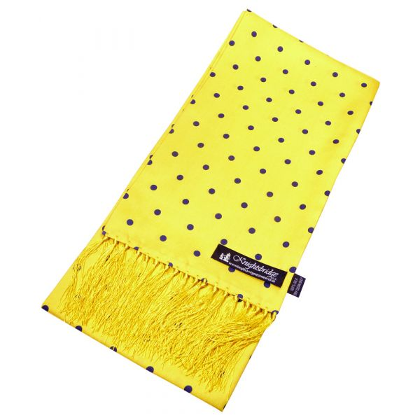 Yellow with Navy Spots Silk Aviator Scarf from Knightsbridge Neckwear - ACC831