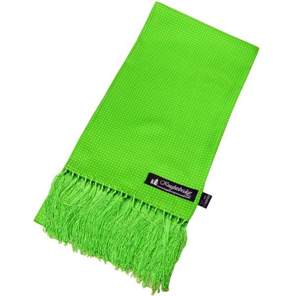 Bright Green with White Dots Silk Aviator Scarf from Knightsbridge Neckwear