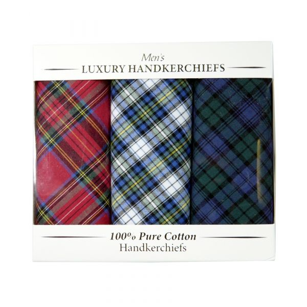 Box of Three Cotton Hankies in Mixed Tartan Designs