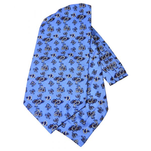 Bright Blue Paisley Silk Cravat from Knightsbridge Neckwear
