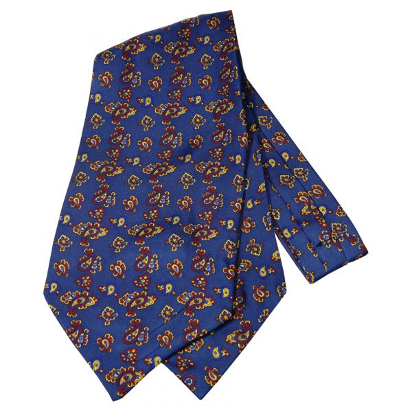 Navy Blue Paisley Silk Cravat from Knightsbridge Neckwear