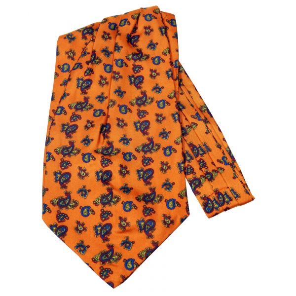 Burnt Orange Paisley Silk Cravat from Knightsbridge Neckwear