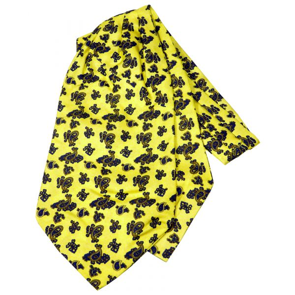 Yellow Paisley Silk Cravat from Knightsbridge Neckwear