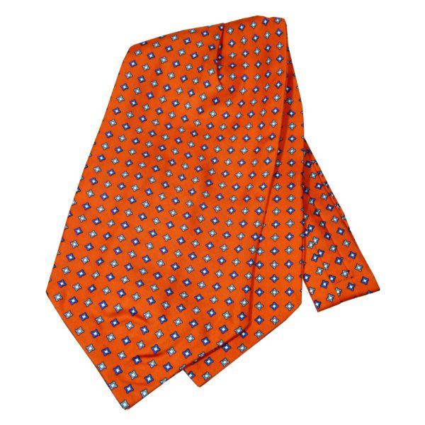 Orange Diamonds Design Silk Cravat from Knightsbridge Neckwear