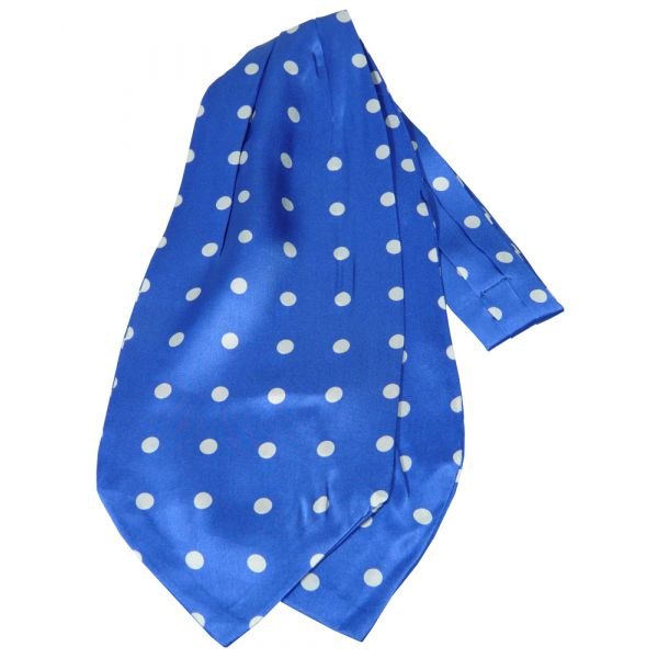 Blue with White Spots Design Silk Cravat from Knightsbridge Neckwear
