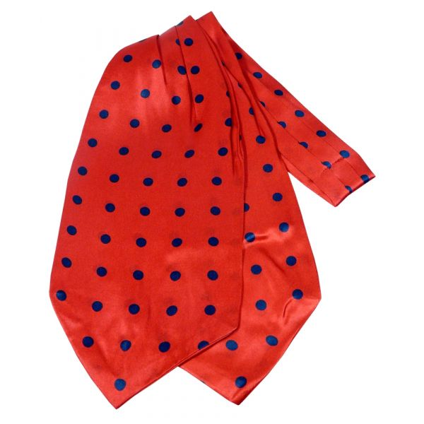 Red with Black Spots Design Silk Cravat from Knightsbridge Neckwear