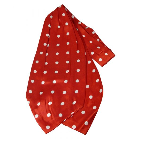 Red with White Spots Design Silk Cravat from Knightsbridge Neckwear