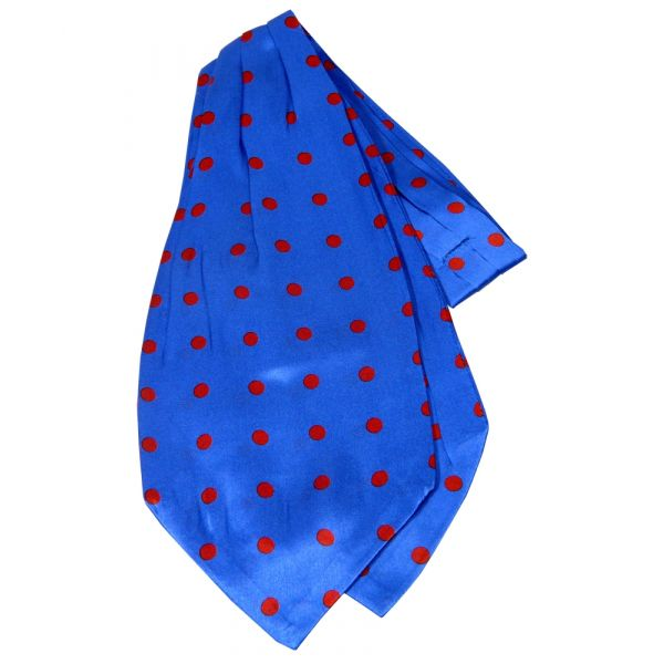 Royal Blue with Red Spots Design Silk Cravat from Knightsbridge Neckwear