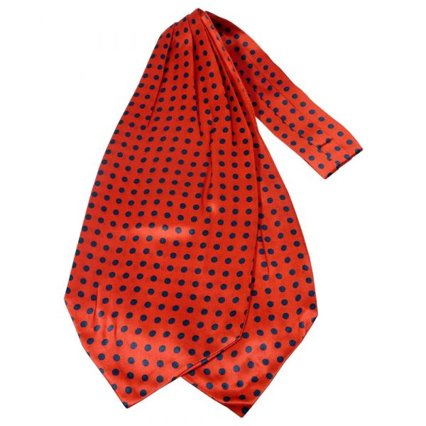 Red with Medium Black Polka Dots Silk Cravat from Knightsbridge Neckwear