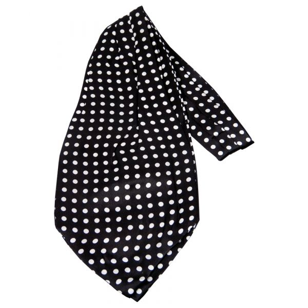 Black with Medium White Polka Dots Silk Cravat from Knightsbridge Neckwear
