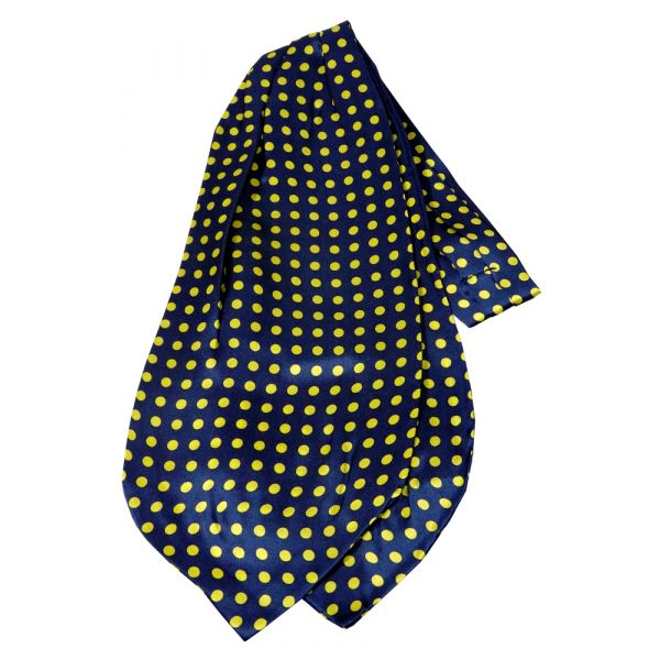 Navy with Medium Yellow Polka Dots Silk Cravat from Knightsbridge Neckwear