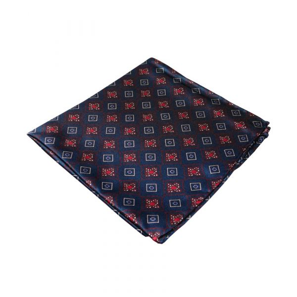 Tootal Silk Handkerchief in Navy with Diamond Tile Design