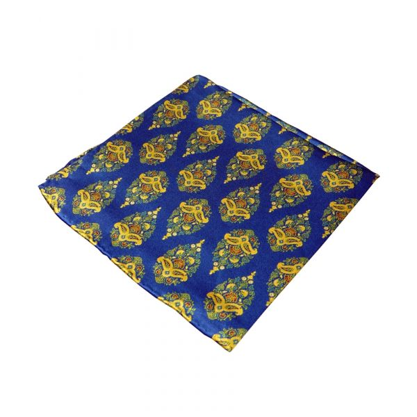 Tootal Silk Handkerchief in Blue and Gold Tear Drop Design