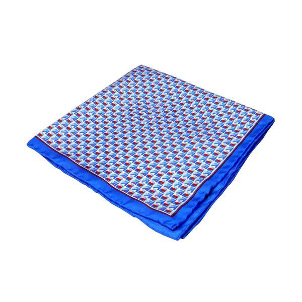 Blue Geo Squares Silk Hankie
