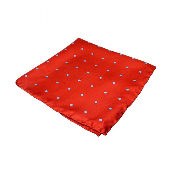 Red and Light Blue New Spot Silk Hankie