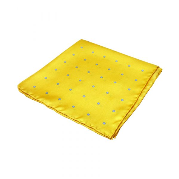 Yellow and Light Blue New Spot Silk Hankie