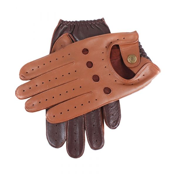 Dents Mens Leather Driving Gloves in Cognac and Tan
