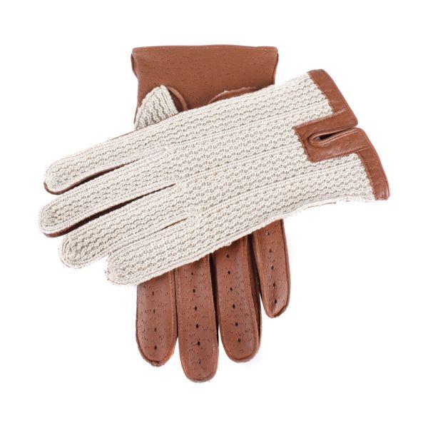 Dents Mens Crochet Back Gloves in Brown