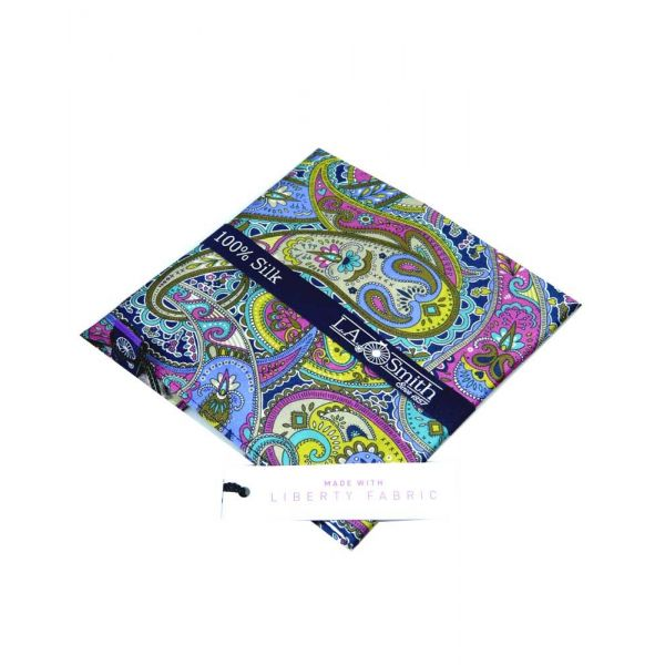 Liberty Print Silk Hankie in Blue and Purple Paisley Design