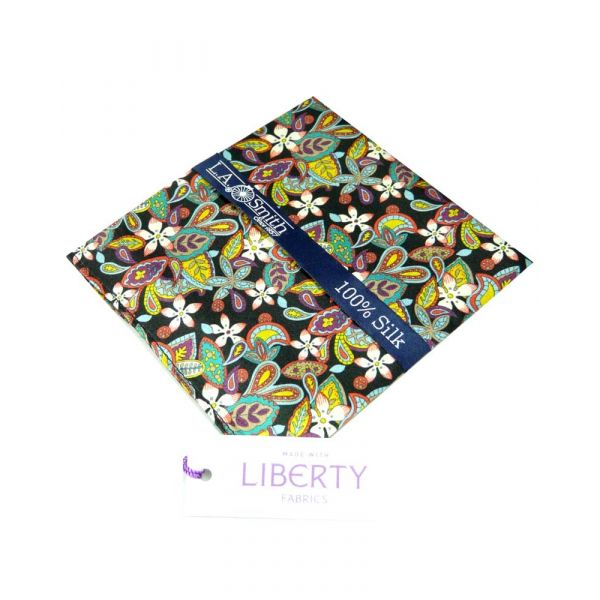 Liberty Print 'Lemon Flowers' Design in Black Silk Pocket Square