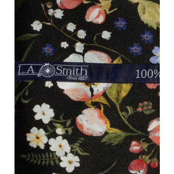 Liberty Print Fabric 'Heidi' Design in Black Silk Hankie