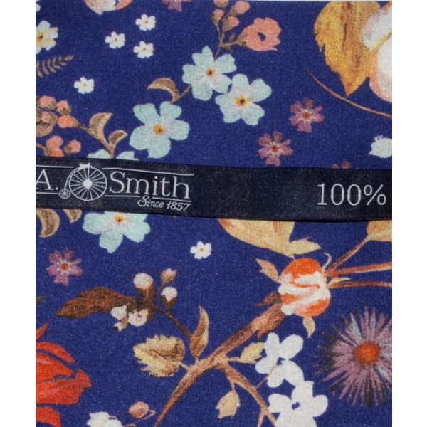 Liberty Print 'Heidi' Design in Blue Silk Hankie