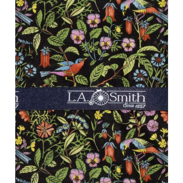 Liberty Print 'Catesby' Design in Black Cotton Hankie