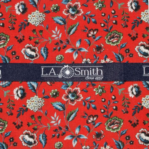 Made with Liberty Fabric Rousseau Design in Red Cotton Hankie