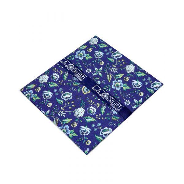 Made with Liberty Fabric Rousseau Design in Blue Cotton Hankie