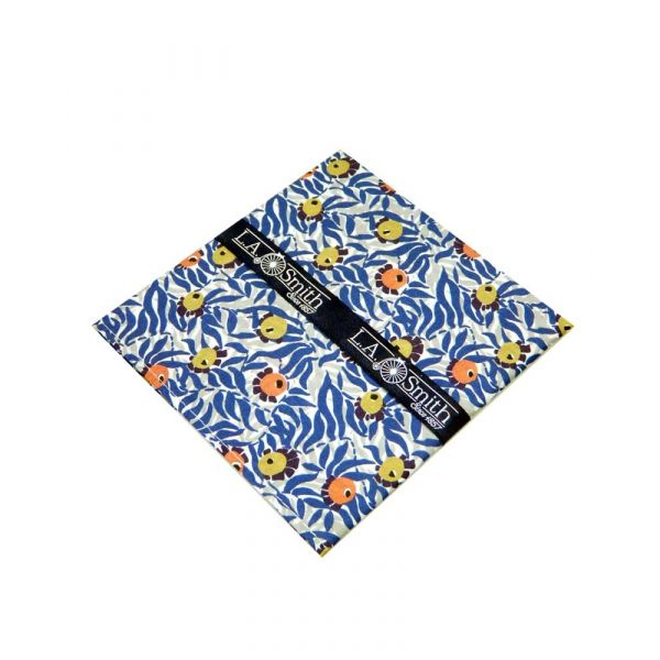 Made with Liberty Fabric Huckleberry Design in Blue Cotton Hankie